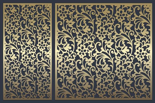 Conception de panneaux découpés au laser. modèle de bordure vintage orné pour la découpe laser, les vitraux, la gravure sur verre, le sablage, la sculpture sur bois, la fabrication de cartes, les invitations de mariage.