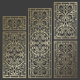 Conception de panneaux découpés au laser. modèle de bordure vintage orné pour la découpe laser, les vitraux, la gravure sur verre, le sablage, la sculpture sur bois, la fabrication de cartes.