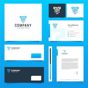 Conception de papeterie de marque technologique avec thème bleu