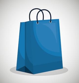 Conception de papier icône sac bleu boutique