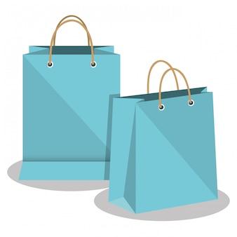Conception de papier icône sac boutique