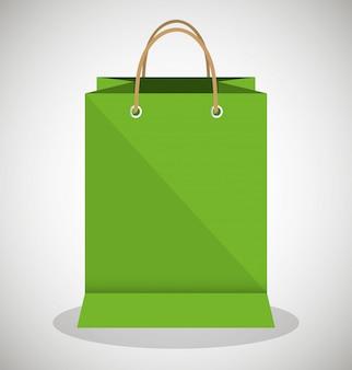 Conception de papier icône sac magasin vert