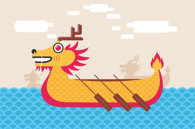 Conception de papier peint coloré de bateau dragon