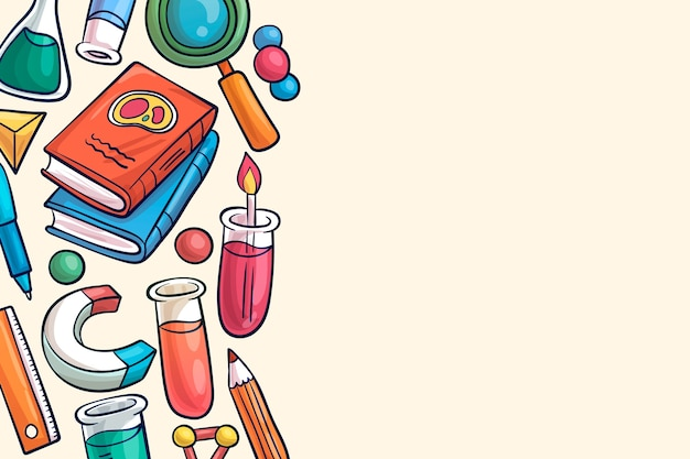 Conception de papier peint de l'éducation scientifique dessinée à la main