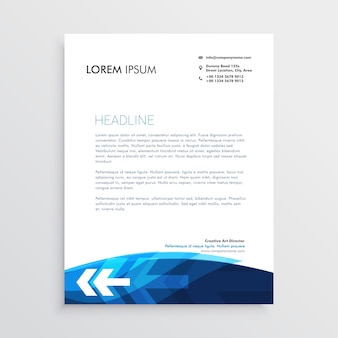 Conception de papier à en-tête bleu moderne avec la forme de flèche