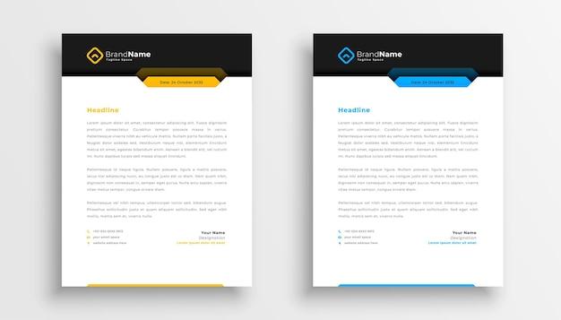 Conception de papier à en-tête d'entreprise dans un style moderne