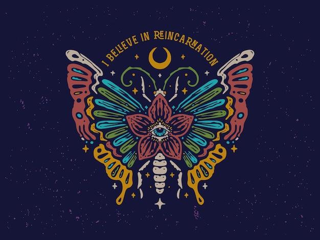 Conception de papillon coloré vintage