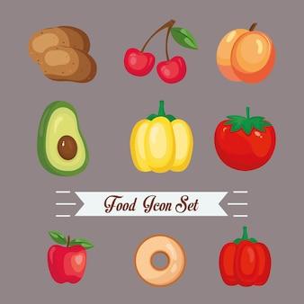 Conception de paquet d'icônes de nourriture, nourriture manger restaurant et thème de menu illustration vectorielle