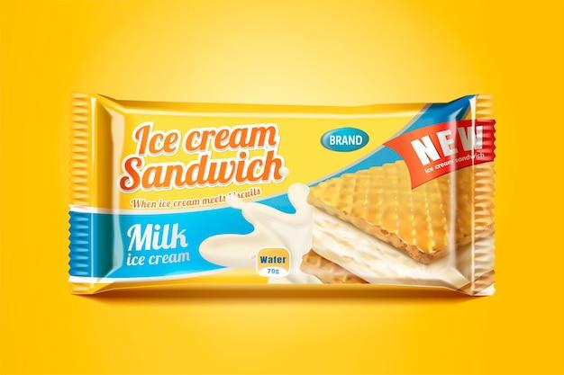 Conception de paquet de sandwich à la crème glacée