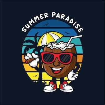 Conception de paradis d'été de mascotte de noix de coco