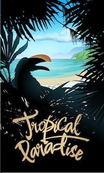 Conception de paradis tropical avec mer et palmiers. illustration vectorielle