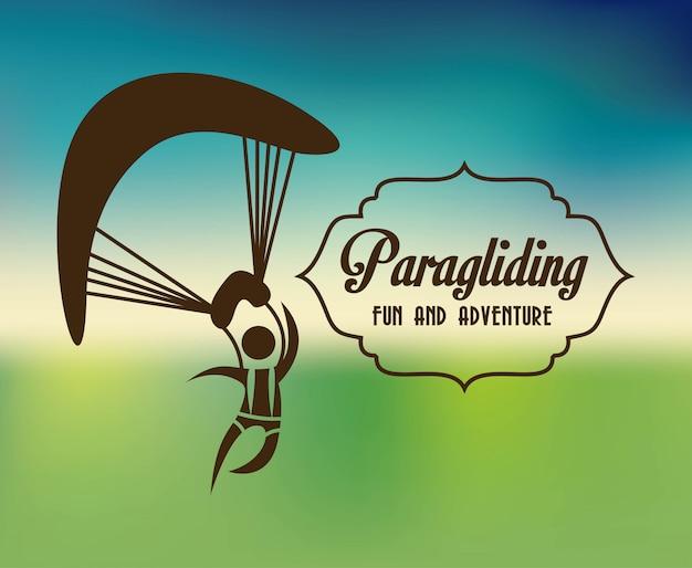 Conception de parapente sur illustration vectorielle fond bleu