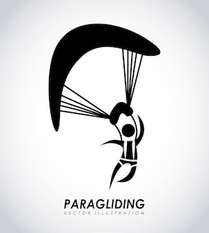 Conception de parapente sur illustration vectorielle fond gris