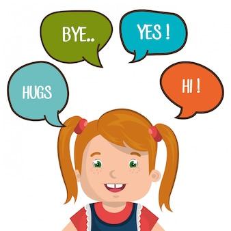Conception de parler enfant heureux