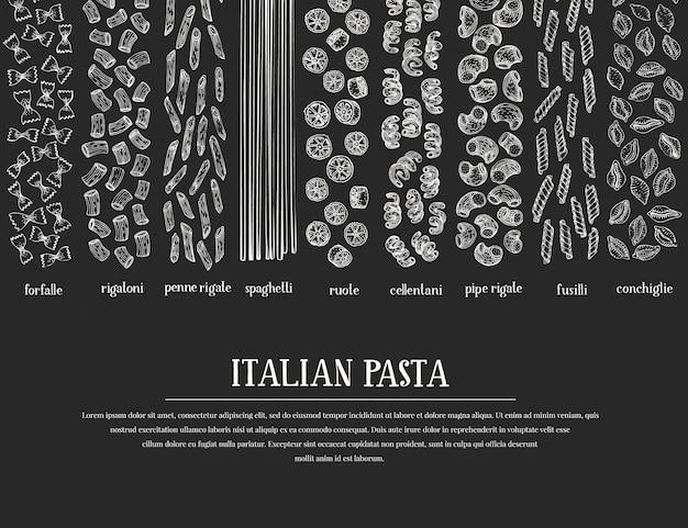 Conception de pâtes dessinées à la main