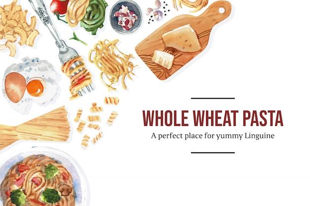 Conception de pâtes avec fourchette, macaroni, illustration aquarelle de pâtes.