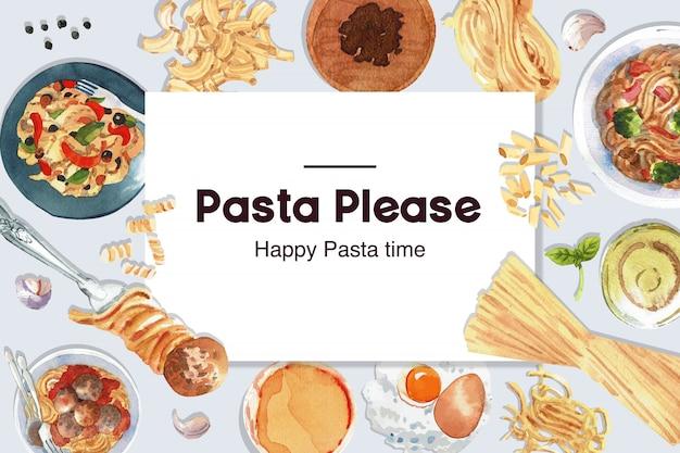 Conception de pâtes avec fourchette, macaroni, pâte, illustration aquarelle d'oeuf.