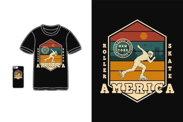 Conception de patin à roulettes de l'amérique pour le style rétro de silhouette de t-shirt