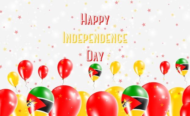 Conception patriotique du jour de l'indépendance du mozambique. ballons aux couleurs nationales du mozambique. carte de voeux de joyeux jour de l'indépendance.