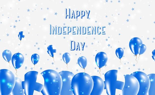 Conception patriotique de la fête de l'indépendance de la finlande. ballons aux couleurs nationales finlandaises. carte de voeux de joyeux jour de l'indépendance.