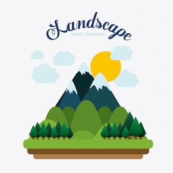 Conception de paysage, illustration vectorielle.