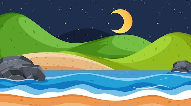 Conception de paysage avec océan la nuit