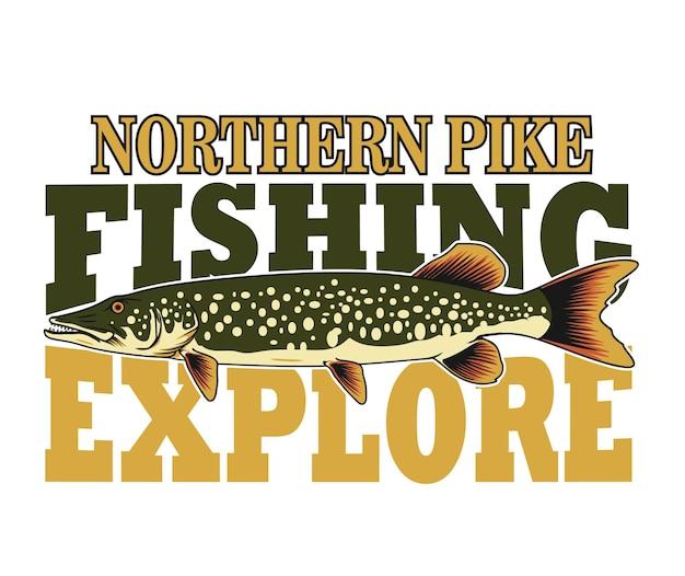 Conception de pêche au brochet du nord pour affiche ogo et autres utilisations