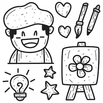 Conception de peintre de doodle de dessin animé
