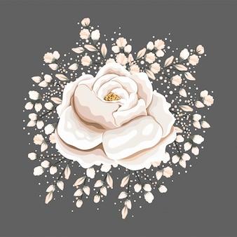 Conception de peinture de fleur rose blanche, décoration de jardin d'ornement de plante de nature florale naturelle et illustration de thème de botanique