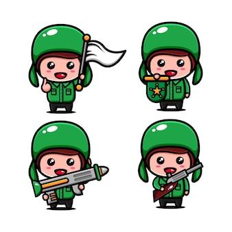 Conception de personnage de l'armée mignonne sur le thème de maintenir la région