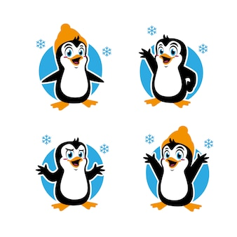Conception de personnage autocollant mascotte pingouin