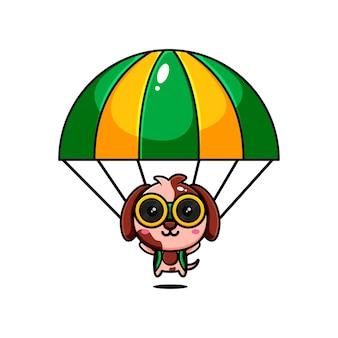 Conception de personnage de chiots mignons sur le thème de jouer un parachute