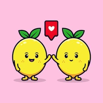 Conception d'un personnage de citron mignon avec une illustration de mascotte plate à cinq poses
