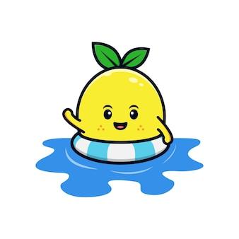 Conception d'un personnage de citron mignon nageant une illustration de mascotte plate