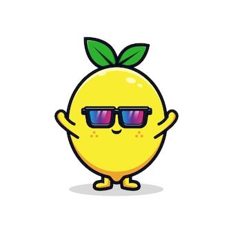 Conception d'un personnage de citron mignon portant une illustration de mascotte plate en verre