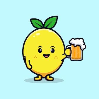 Conception d'un personnage de citron mignon tenant une illustration de mascotte plate de bière