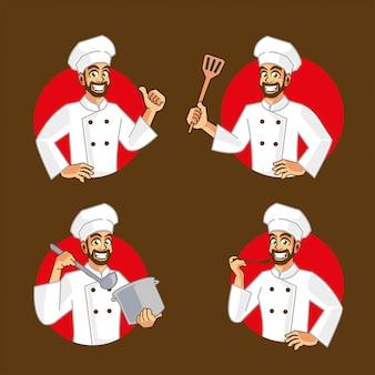 Conception de personnage de dessin animé de chef cuisinier