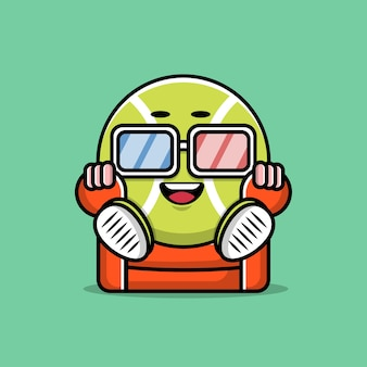 Conception de personnage de dessin animé mignon balle de tennis
