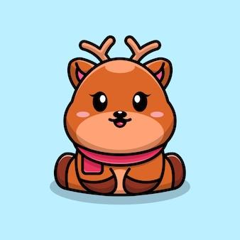 Conception de personnage de dessin animé mignon bébé cerf