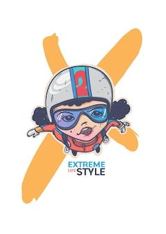 Conception de personnage de dessin animé de parachute de sport extrême.