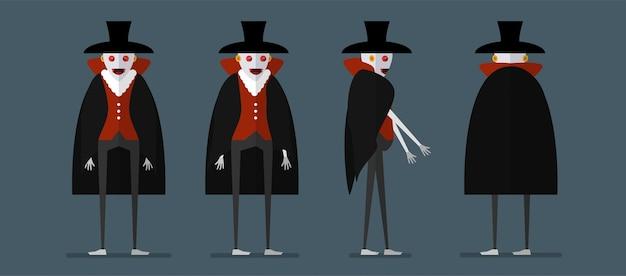 Conception de personnage de dracula pour la journée d'halloween, le 31 octobre.