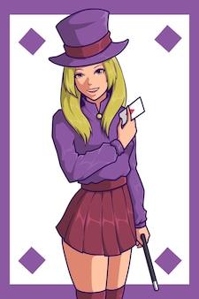Conception de personnage de fille de magicien