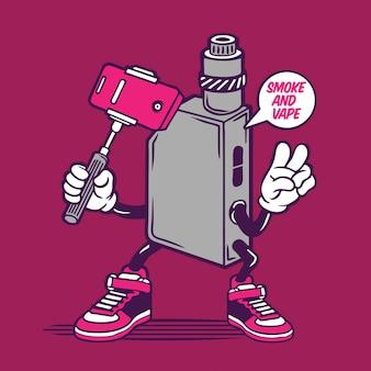 Conception de personnage de fumer une cigarette électrique selfie vape