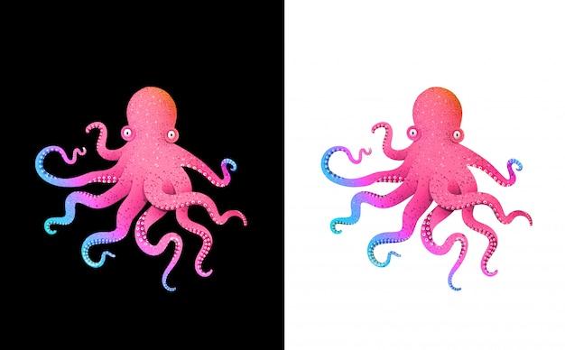 Conception de personnage futuriste coloré de poulpe impression d'art de dégradés d'acide aux couleurs vives.