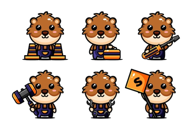 Conception de personnage de hamster mignon définie sur le thème de la construction