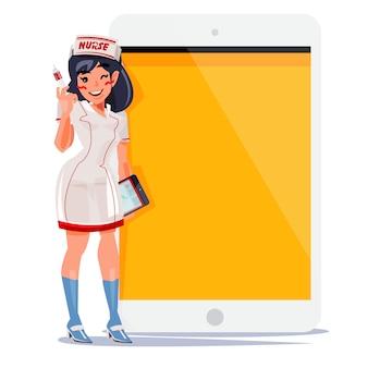 Conception de personnage d'infirmière mignon tenant la seringue et le papier médical avec tablette derrière à la présentation