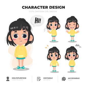 Conception de personnage de jolie fille
