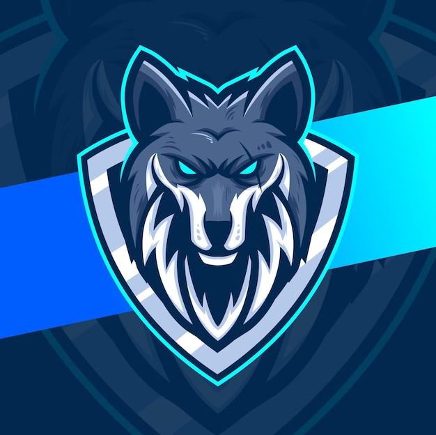 Conception de personnage de logo esport de mascotte de loups pour le jeu et le sport de loup