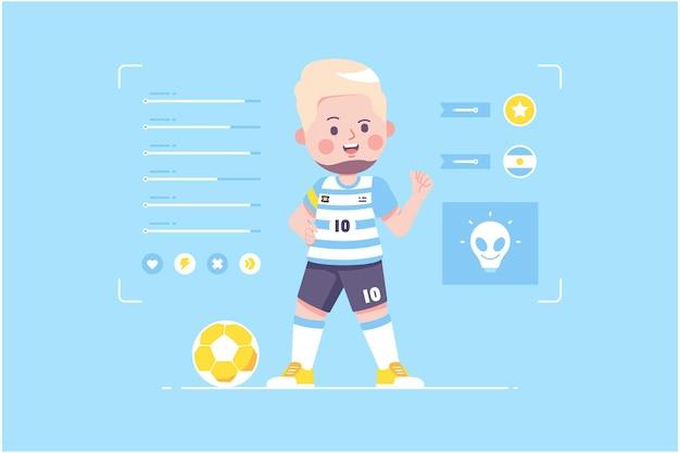 Conception de personnage mignon joueur de football argentin