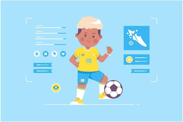 Conception de personnage mignon joueur de football brésilien